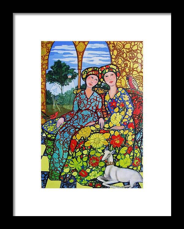 Golden Afternoon With Horseman Framed Print featuring the painting Golden Afternoon Wth Horseman by Marilene Sawaf