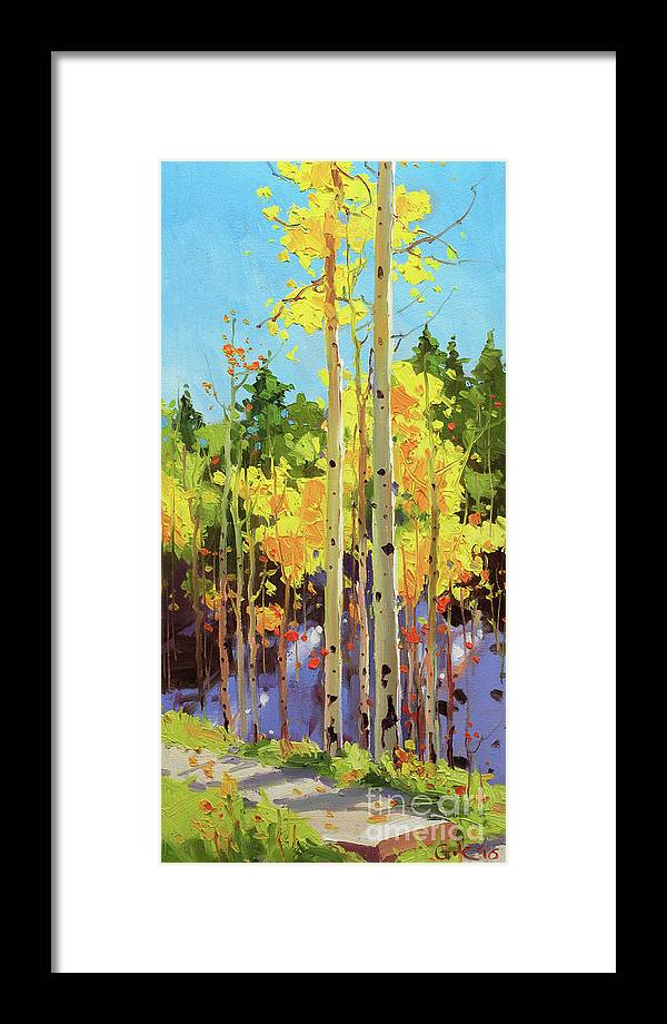 Autumn Aspen Forest Covered In Early Snow Southwestern Rocky Mountain Orange Leaves White Sliver Bark Aspen Trunks Wildflowers Foreground Along Grasses Aspen Trees Golden Yellow Vibrant Colorful Autumn Tree Foliage Giclee Print Landscape Wildflower Elk Mountains Maroon Peak Forest Nature Woods Flowers Trees Summer Spring Flowers Tree Canopy Vibrant Vivid Colorful Colourful Gary Kim Fineart Original Oil Painting Landscape Oil Painting Contemporary Framed Print featuring the painting Golden Aspen in early snow by Gary Kim