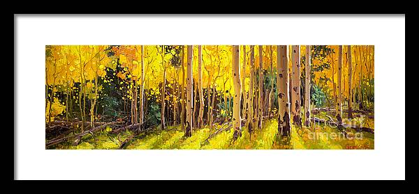 Golden Aspen In The Light Aspen Trees Birch Gary Kim Oil Print Art Nature Scenes Healing Environment Patient Santa Fe Fall Trees Autumn Season Beautiful Beauty Yellow Red Orange Fall Leaves Foliage Autumn Leaf Color Mountain Oil Painting Original Art Horizontal Landscape National Park America Morning Nature Wallpaper Outdoor Panoramic Peaceful Scenic Sky Sun Travel Vacation View Season Bright Autumn National Park America Clouds Landscape Natural New Painting Oil Original Vibrant Texture Bluesky Framed Print featuring the painting Golden Aspen in the Light by Gary Kim
