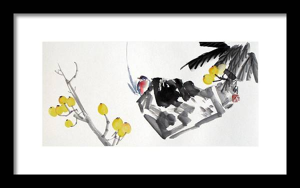 Chinese Painting Framed Print featuring the painting Golden Attraction by Ming Yeung
