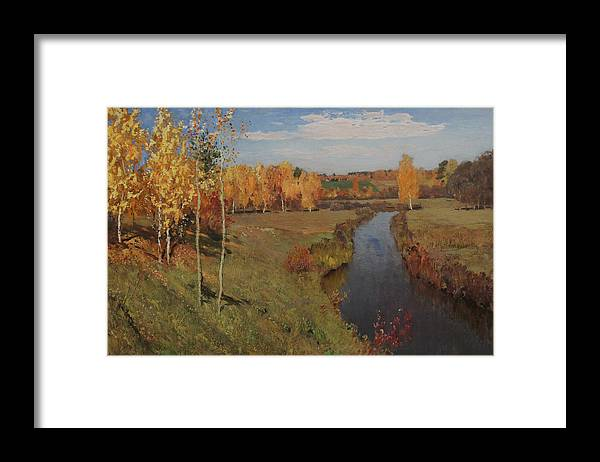 Isaac Levitan Framed Print featuring the painting Golden Autumn by Isaac Levitan