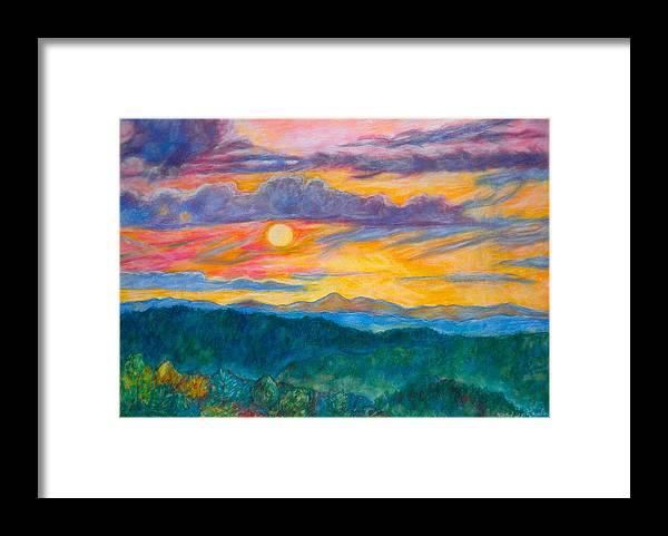 Landscape Framed Print featuring the painting Golden Blue Ridge Sunset by Kendall Kessler
