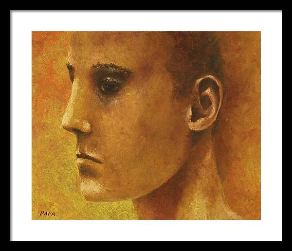 Face Framed Print featuring the painting Golden Boy by Ralph Papa