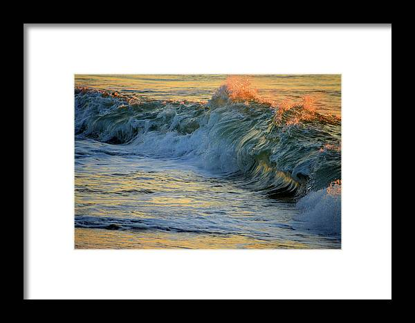 Ocean Framed Print featuring the photograph Golden Breakers by Dianne Cowen