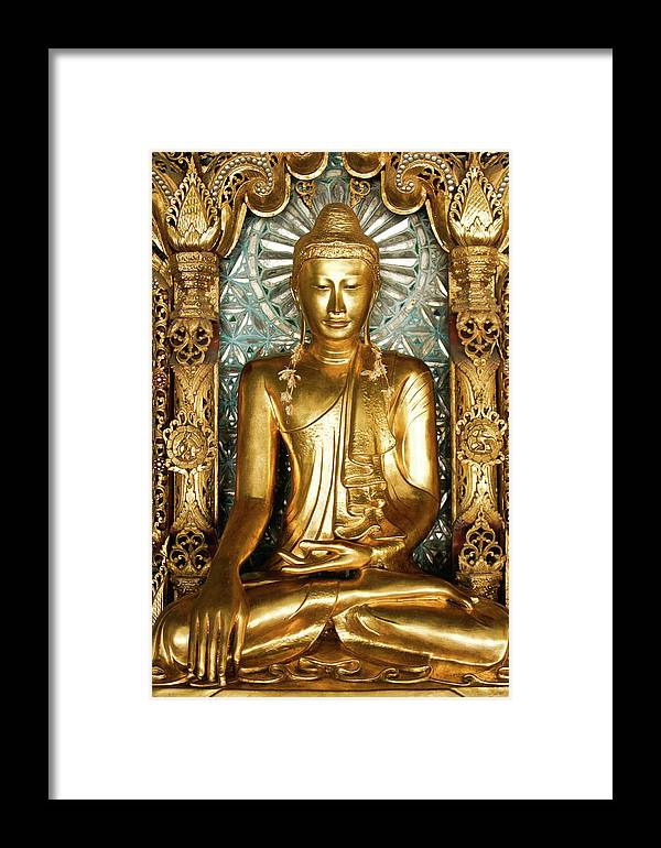 Asia Framed Print featuring the photograph Golden Buddha by Michele Burgess