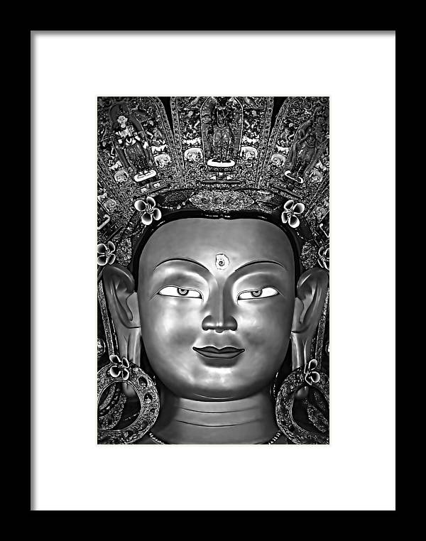 Buddhism Framed Print featuring the photograph Golden Buddha Monochrome by Steve Harrington