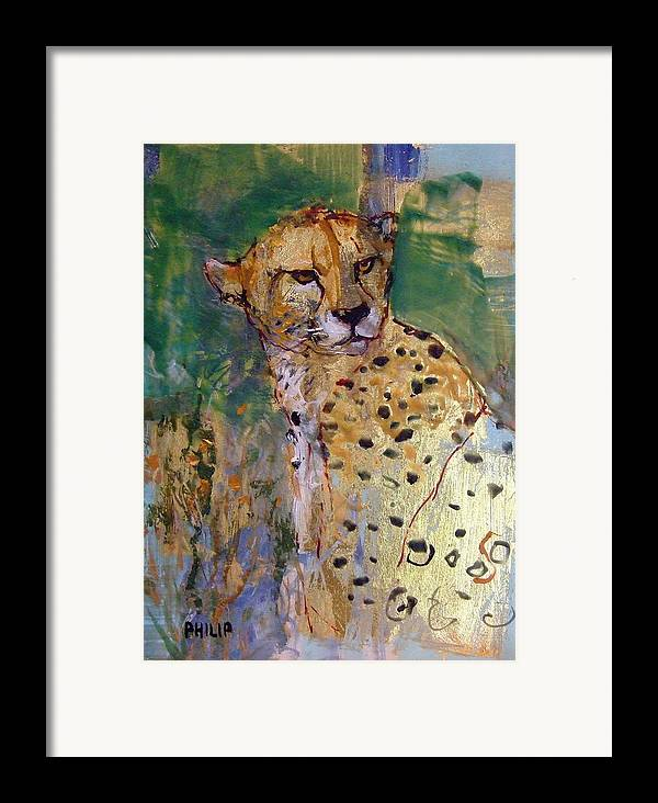 Cheetah Framed Print featuring the painting Golden Cheetah by Michelle Philip