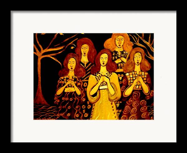 Choir Framed Print featuring the painting Golden Chords by Rusty Woodward Gladdish