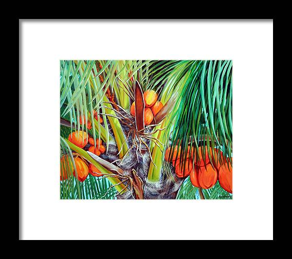 Coconuts Framed Print featuring the painting Golden Coconuts by Jose Manuel Abraham