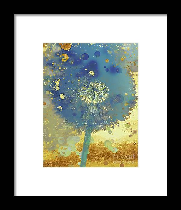 Golden Dreams II Abstract Marine Blue And Gold Dandelion Puff Framed Print