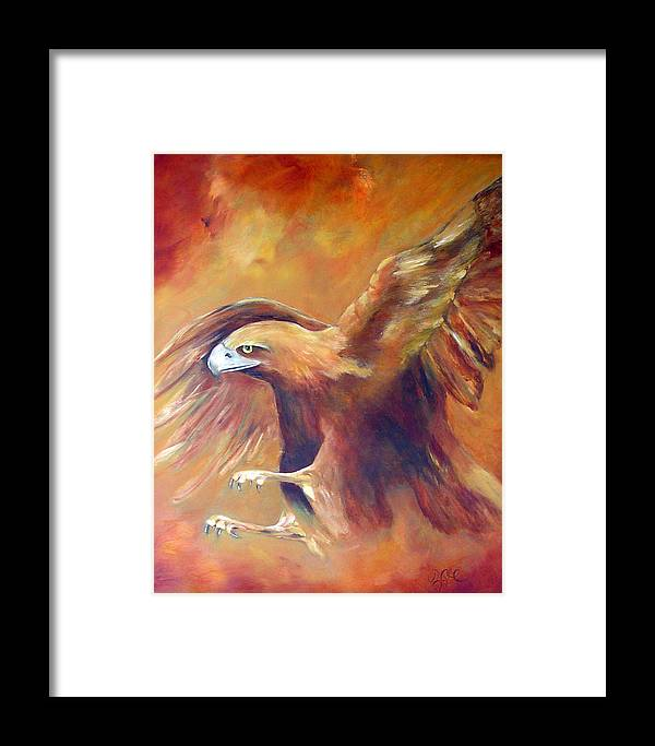 Golden Eagle Framed Print featuring the painting Golden Eagle by Zoe Landria