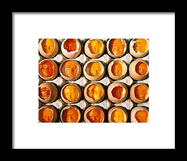 Eggs Framed Print featuring the sculpture Golden Eggs 2 by Mark Cawood