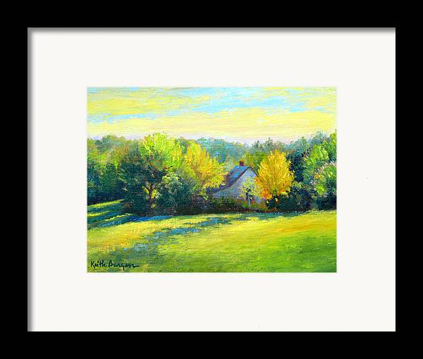 Landscape Framed Print featuring the painting Golden Evening by Keith Burgess
