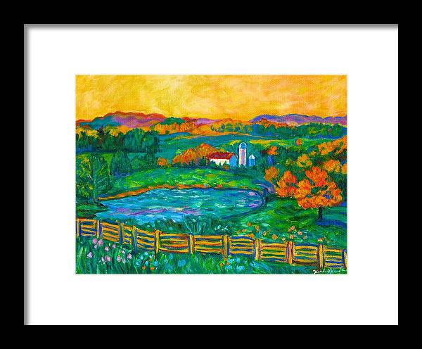 Landscape Framed Print featuring the painting Golden Farm Scene Sketch by Kendall Kessler