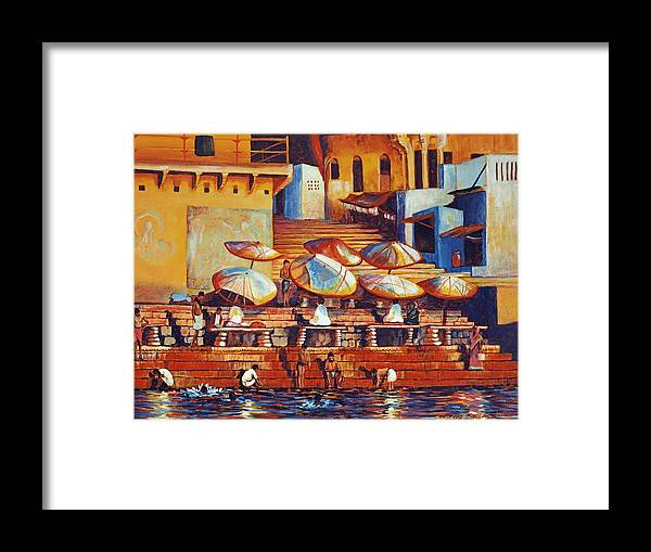 Realist Framed Print featuring the painting Golden Ganges by Art Nomad Sandra Hansen