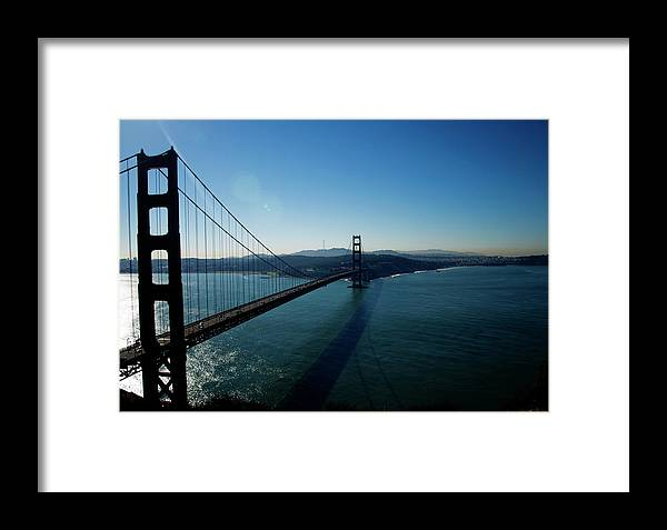 Golden Gate Bridge Framed Print featuring the photograph Golden Gate Blues by Mary Capriole