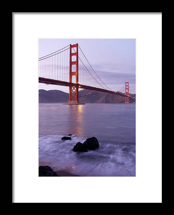 Golden Gate Framed Print featuring the photograph Golden Gate Bridge At Dusk by Mathew Lodge