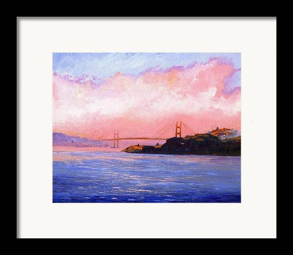 Landscape Framed Print featuring the painting Golden Gate Bridge by Frank Wilson