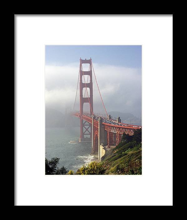 Golden Gate Framed Print featuring the photograph Golden Gate Bridge In The Fog by Mathew Lodge