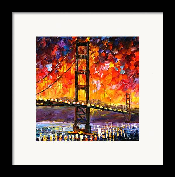 City Framed Print featuring the painting Golden Gate Bridge by Leonid Afremov
