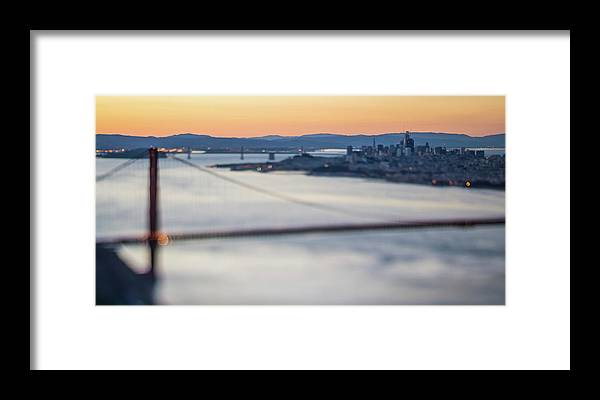 Golden Framed Print featuring the photograph Golden Gate Bridge San Francisco California West Coast Sunrise by Alex Grichenko