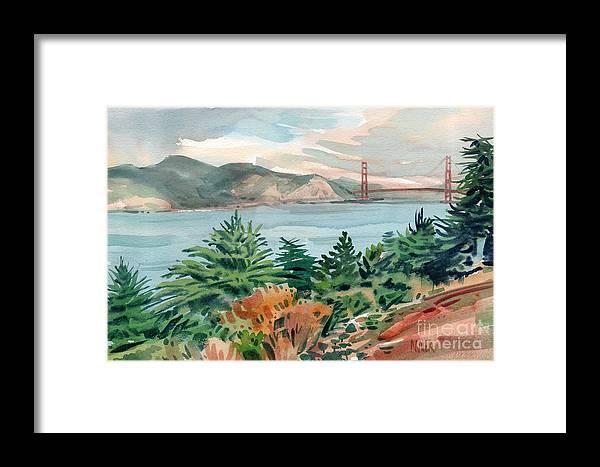 Golden Gate Bridge Framed Print featuring the painting Golden Gate by Donald Maier
