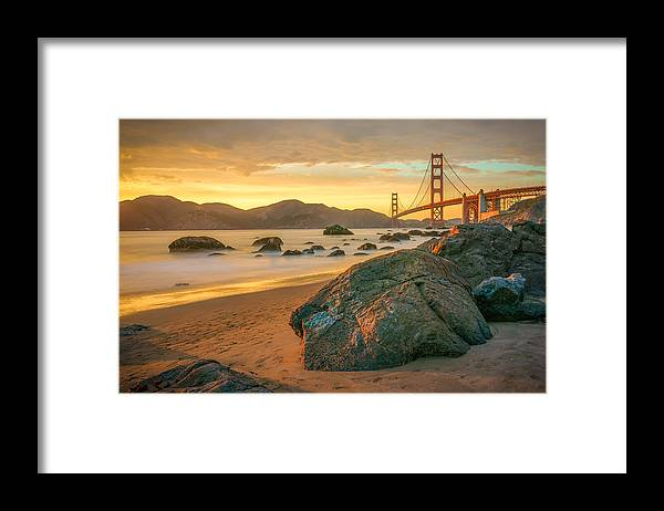 Golden Gate Bridge Framed Print featuring the photograph Golden Gate Sunset by James Udall