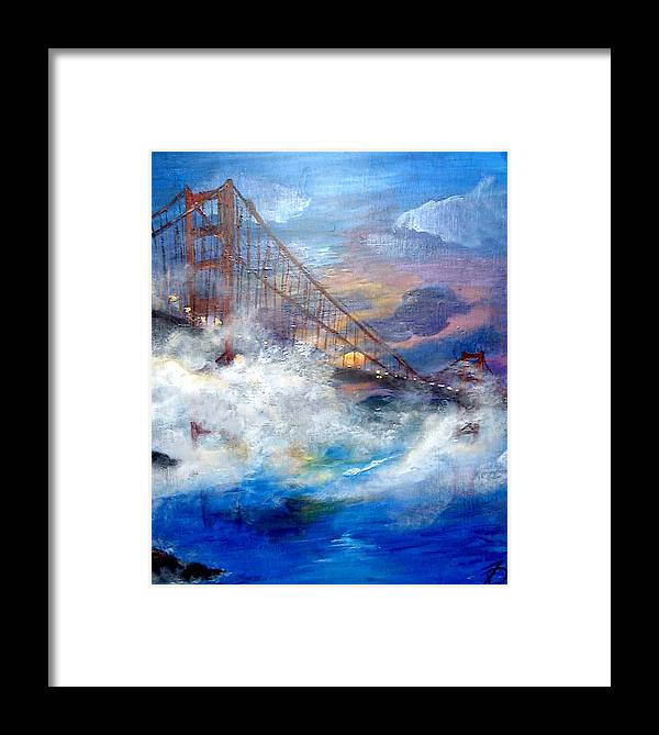 Golden Gate Framed Print featuring the painting Golden Gate Sunset by Travis Day