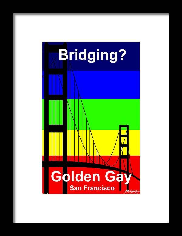 Gay Framed Print featuring the digital art Golden Gay - Text by Asbjorn Lonvig