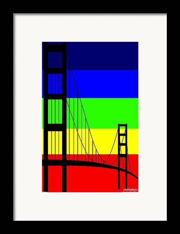 Golden Gate Framed Print featuring the digital art Golden Gay by Asbjorn Lonvig