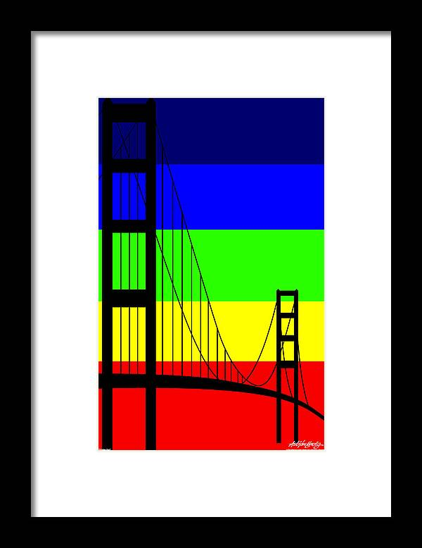 Golden Gate Framed Print featuring the digital art Golden Gay by Asbjorn Lonvig