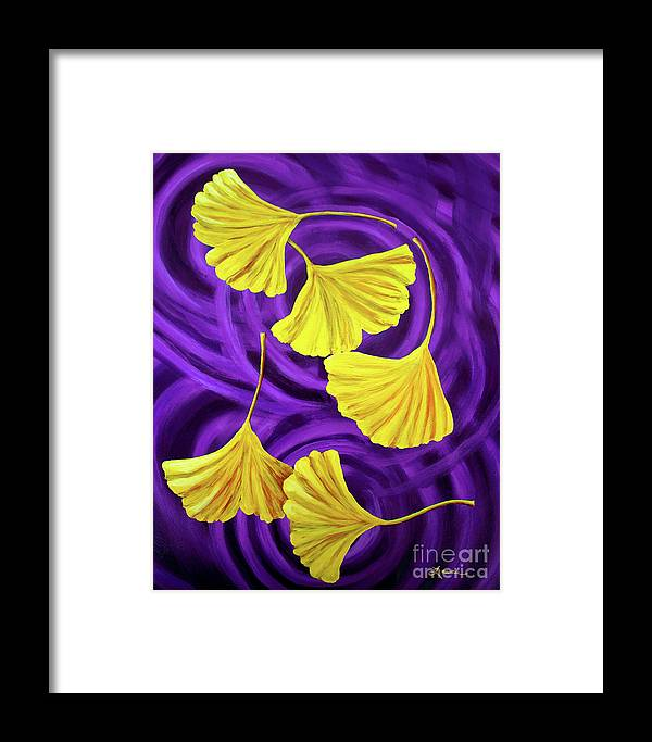 Feng Shui Framed Print featuring the painting Golden Ginkgo Leaves On Purple by Laura Iverson