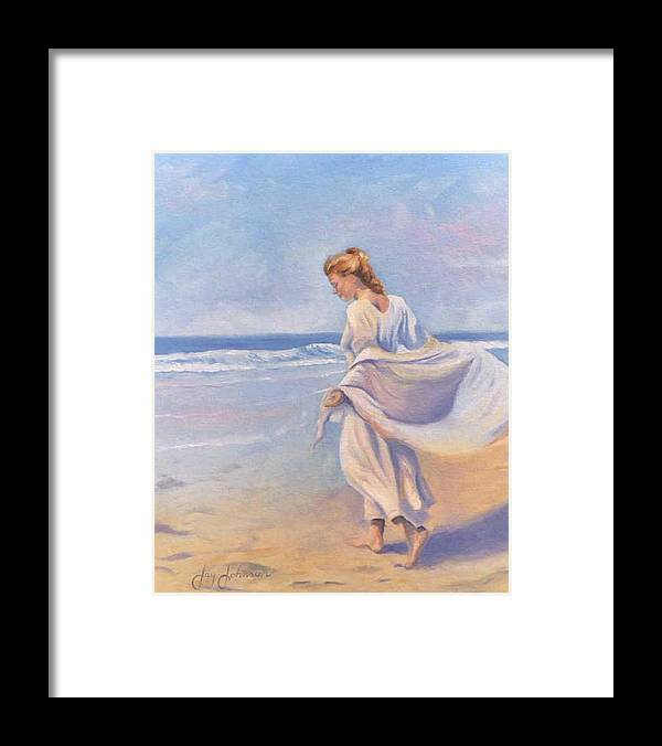 Beach Framed Print featuring the painting Golden Girls by Jay Johnson