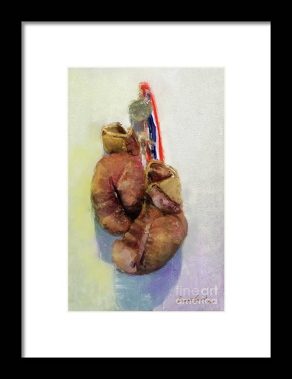 Dwayne Glapion Framed Print featuring the digital art Golden Gloves by Dwayne Glapion