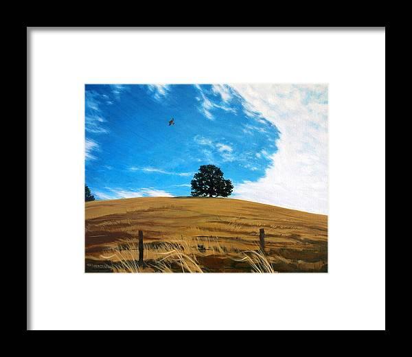 Golden Hills Framed Print featuring the painting Golden Hills Summer Sky by Jill Iversen