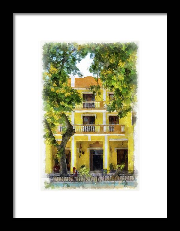 Aged Framed Print featuring the photograph Golden Hotel by Dawn Currie