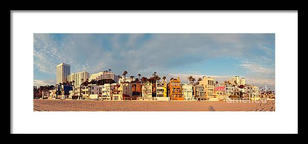 Santa Monica Framed Print featuring the photograph Golden Hour Panorama Of Santa Monica Condos And Bungalows - Los Angeles California by Silvio Ligutti