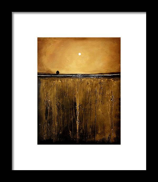 Minimalist Framed Print featuring the painting Golden Inspirations by Toni Grote