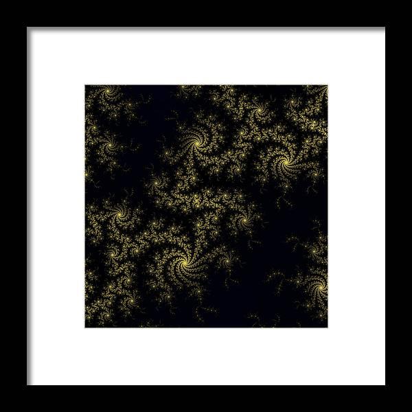 Abstract Framed Print featuring the digital art Golden Lace On Black Velvet by Lenka Rottova