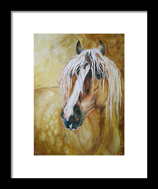 Equine Framed Print featuring the painting Golden Lance by Gina Hall