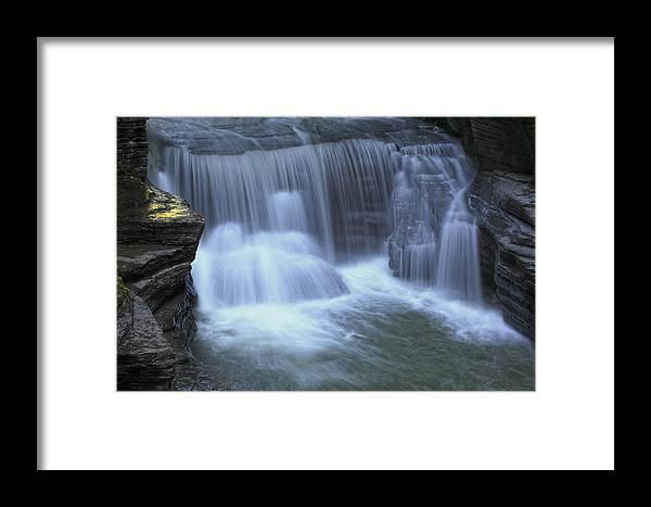 Waterfall Water Stream River Falls Fall Golden Framed Print featuring the photograph Golden Ledge by Robert Och