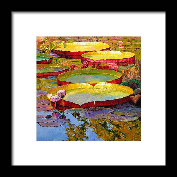 Sunlight Framed Print featuring the painting Golden Light on Pond by John Lautermilch