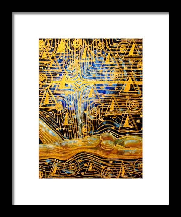 Meditation Framed Print featuring the painting Golden Meditation by Inga Vereshchagina