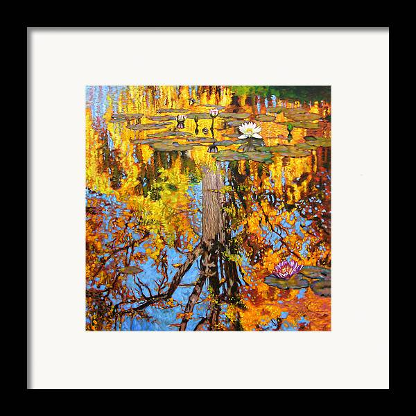 Landscape Framed Print featuring the painting Golden Reflections On Lily Pond by John Lautermilch