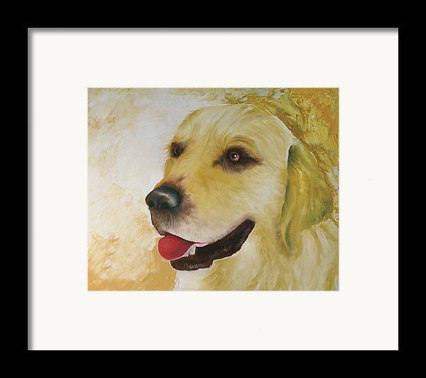 Framed Print featuring the painting Golden Retriever by Dick Larsen