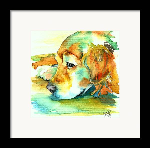 Golden Retriever Framed Print featuring the painting Golden Retriever Profile by Christy Freeman