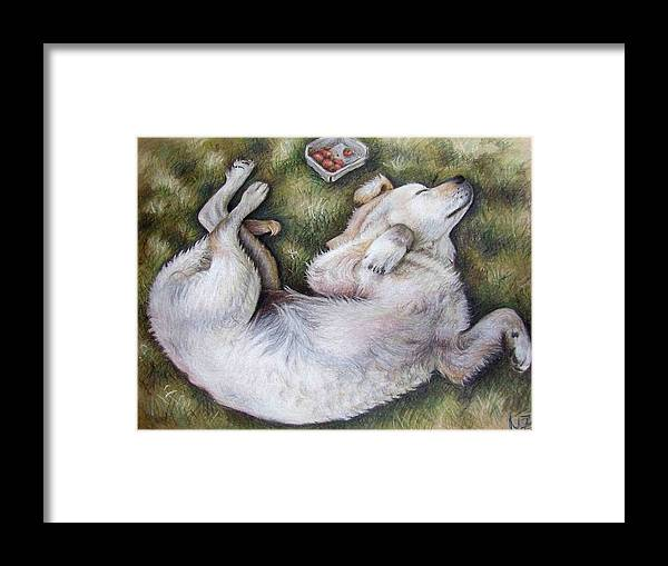 Dog Framed Print featuring the pastel Golden Retriever Puppy by Nicole Zeug