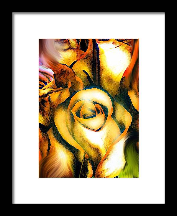 Nature Framed Print featuring the digital art Golden Rose N Twilight by Gayle Price Thomas