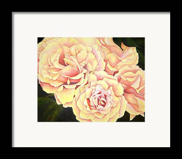 Roses Framed Print featuring the painting Golden Roses by Rowena Finn