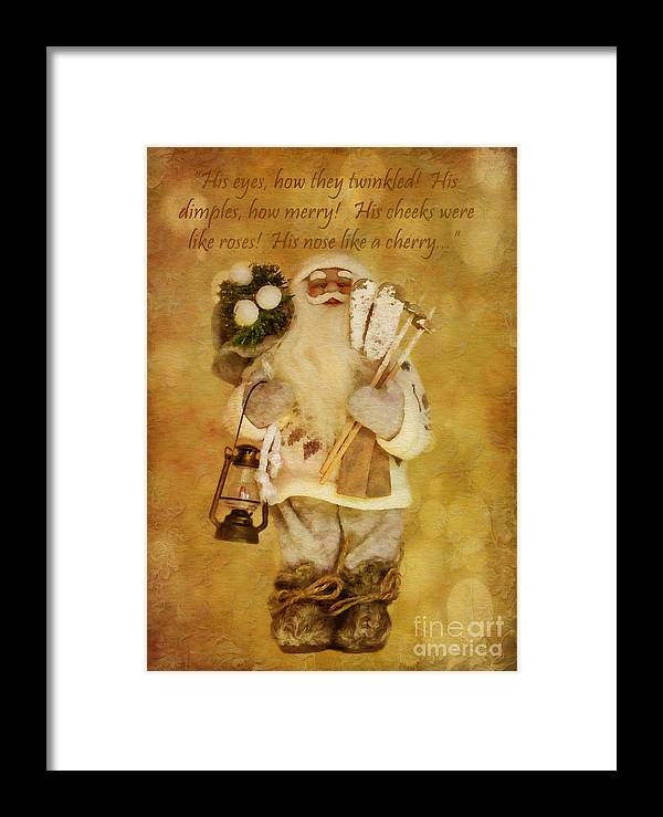 Holiday Framed Print featuring the digital art Golden Santa Card 2015 by Kathryn Strick